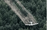 Small Plane Spraying Pesticide over the Trees
